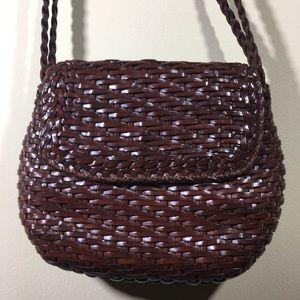 4816555793c4 ... Vintage Cisco woven leather Crossbody purse braid ...